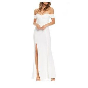 Dress The Population Logan Off The Shoulder Evening Gown Off White Women's XL